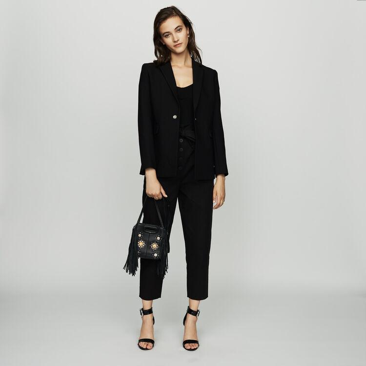 Mini-M-Tasche aus Leder mit Nieten : M Mini farbe Schwarz