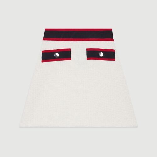 Kurzer Tweed-Rock : Tartan farbe Ecru