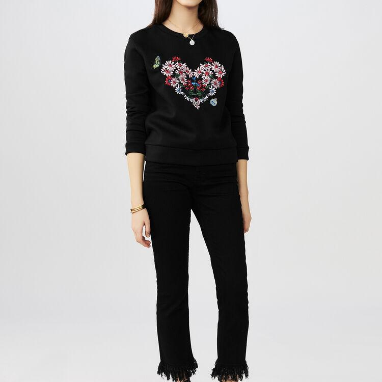 Fleece-Sweatshirt mit Herzstickerei : T-Shirts farbe Schwarz