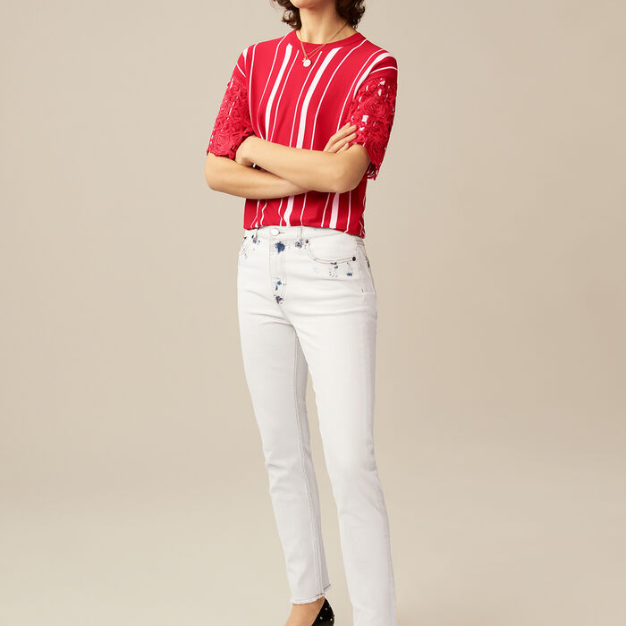 Gerade Jeans mit details : Jeans farbe Weiss