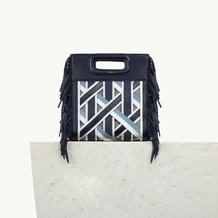 M Tasche aus Leder mit Flechtdetails - Denim capsule - MAJE