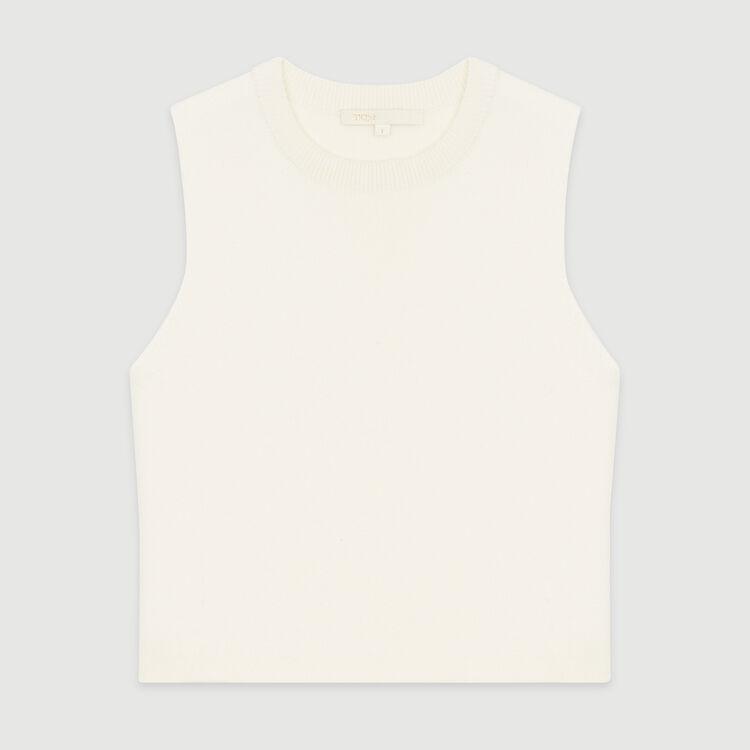 Ärmelloser Pullover aus Mischwolle : Strickwaren farbe ECRU