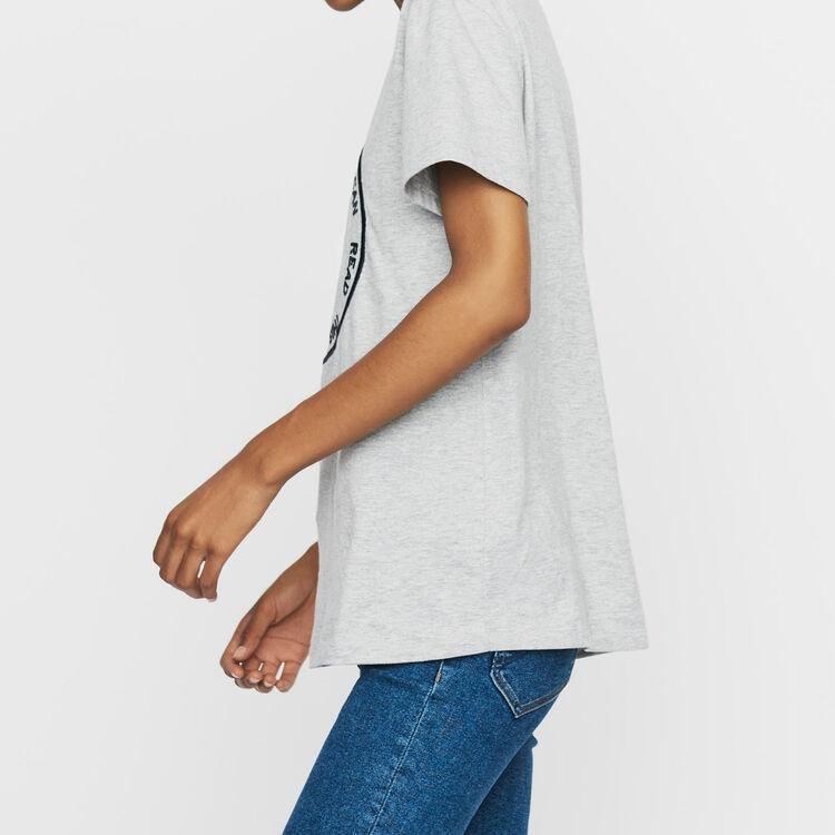 Baumwoll-T-Shirt mit Stickerei : Bekleidung farbe Grau