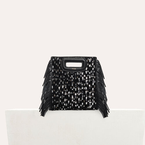 Mini-M-Tasche aus Leder mit Pailletten : Leder farbe Schwarz