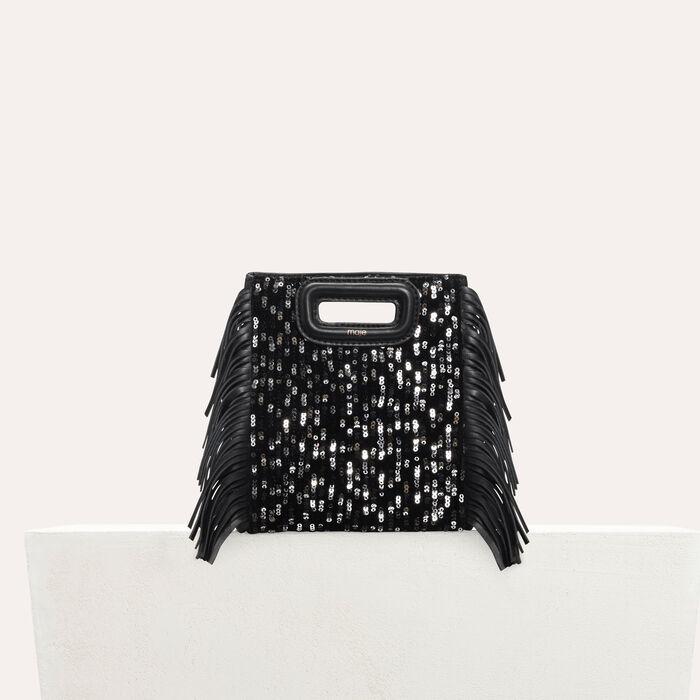 Mini-M-Tasche aus Leder mit Pailletten : M Mini farbe Schwarz