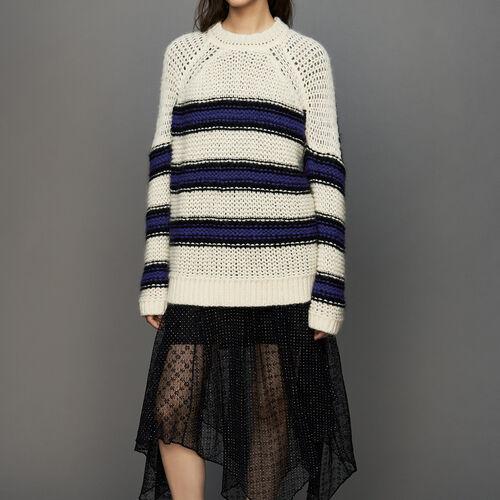 Dreifarbiger Oversize-Pullover : Strickwaren farbe Violett