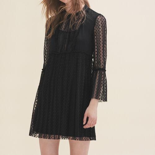 Fließendes Kleid mit Plumetis : Robes farbe Schwarz
