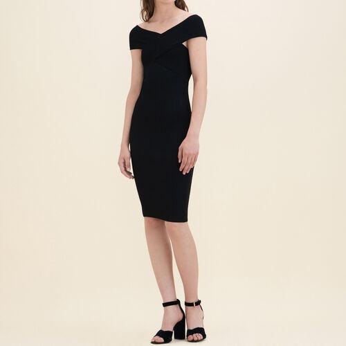 Ärmelloses Kleid aus Rippenstrick : Kleider farbe Schwarz