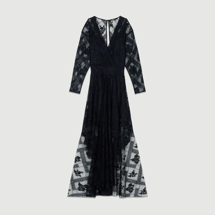 Schleierkleid mit langen Ärmeln : Kleider farbe Schwarz