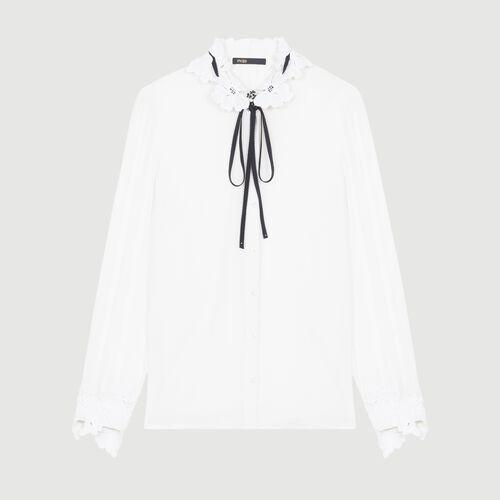Hemdbluse mit Details aus Gipürespitze : Hemden farbe Weiss