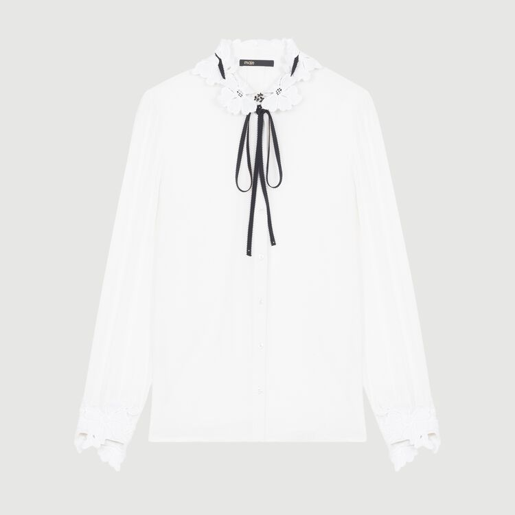 Hemdbluse mit Details aus Gipürespitze : Tops & Hemden farbe Weiss