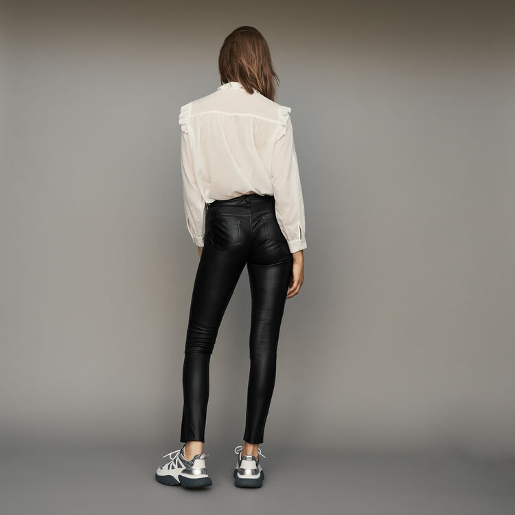 Zigarettenhose aus Lammleder : Hosen farbe Schwarz