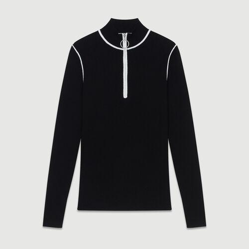 Pullover mit Truckerkragen : Strickwaren farbe Schwarz