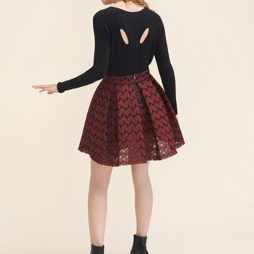 Dünner Pullover aus melierter Wolle : Strickwaren farbe Ecru