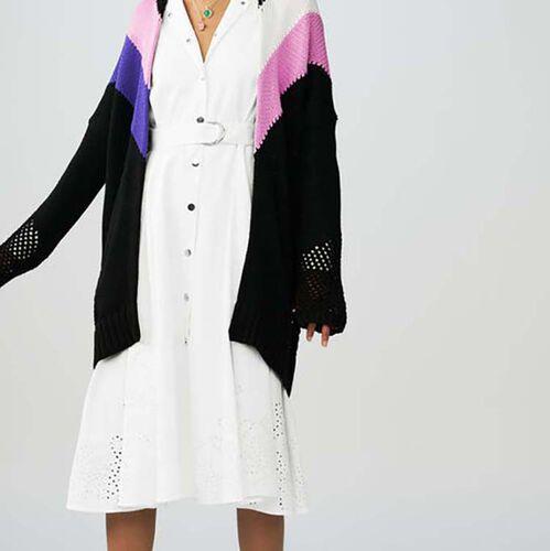 Langer Cardigan mit farbigen Details : Strickwaren farbe Mehrfarbigen