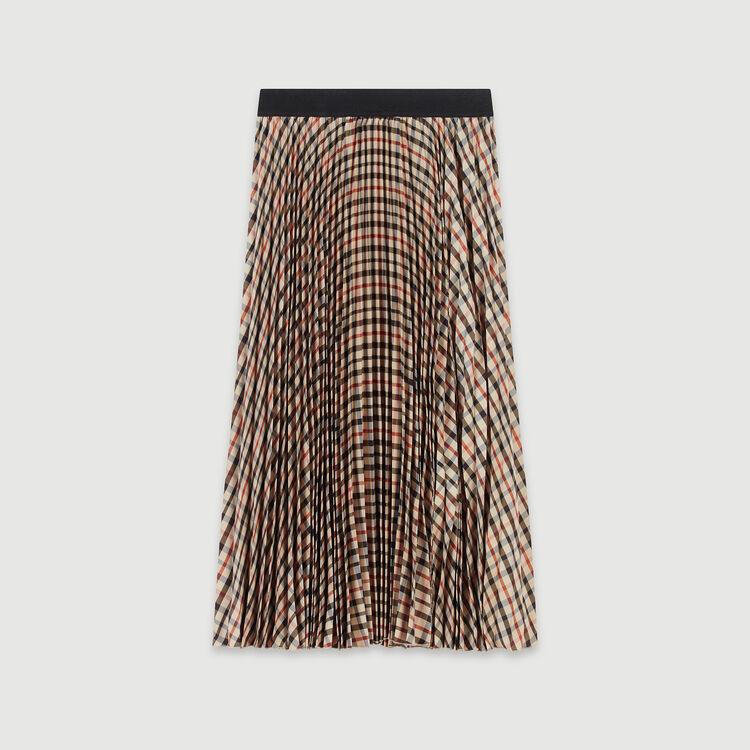 Plissee Rock mit elastischen Karos : Röcke & Shorts farbe Braun