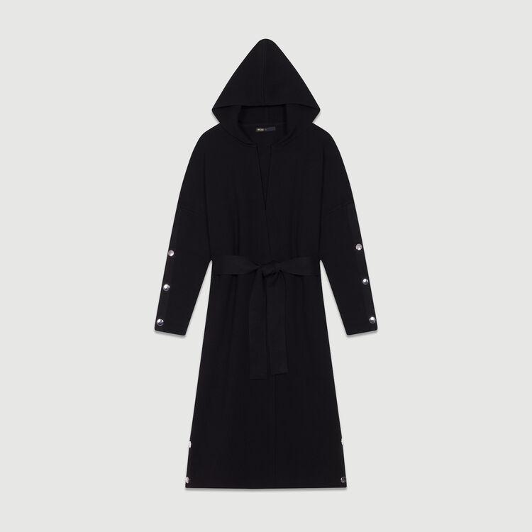 Langer Cardigan mit Kapuze : Strickwaren farbe Schwarz