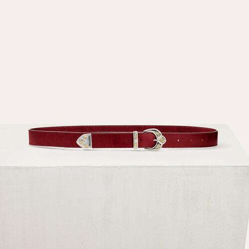 Ledergürtel mit Feston-Schnalle : Accessoires farbe Burgunderrot