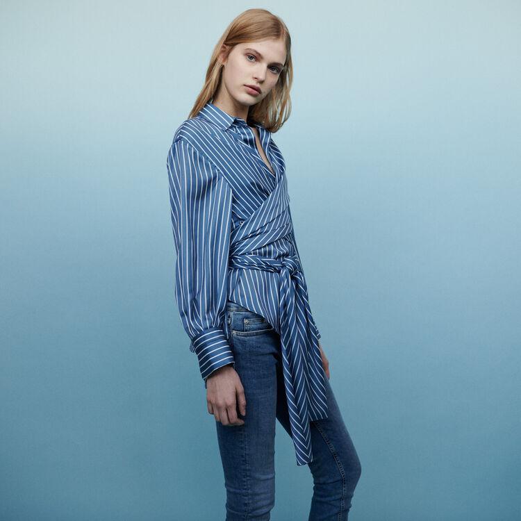 Cache-Coeur Bluse mit Streifen : Hemden farbe Gestreift