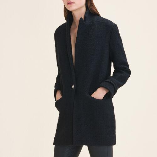 Mittellange Jacke aus Tweed : Blazers farbe Schwarz