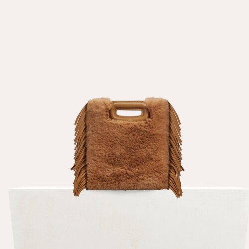 Mini-M-Tasche aus Leder : Leder farbe Beige