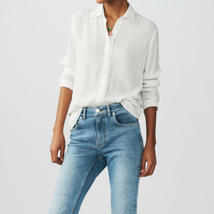 Fließendes Hemd mit langen Ärmeln : Hemden farbe Ecru