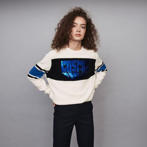 Pailletten Pullover mit Konstrasten : Winter Kollektion farbe Ecru