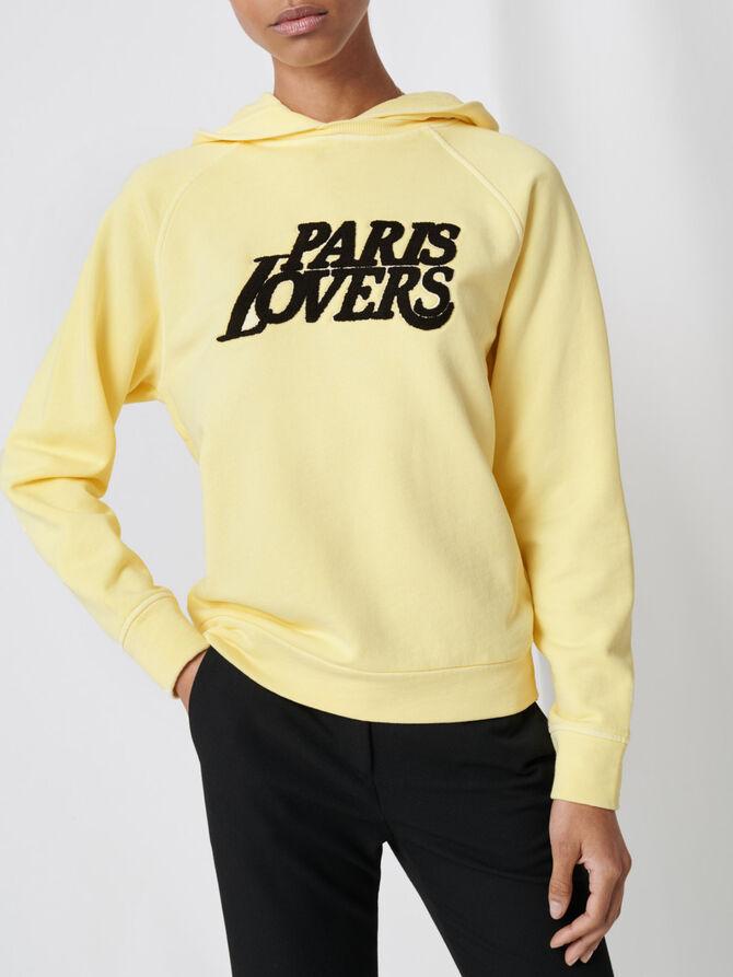 Gelbes Sweatshirt mit Stickerei - Pullover & Strickjacken - MAJE