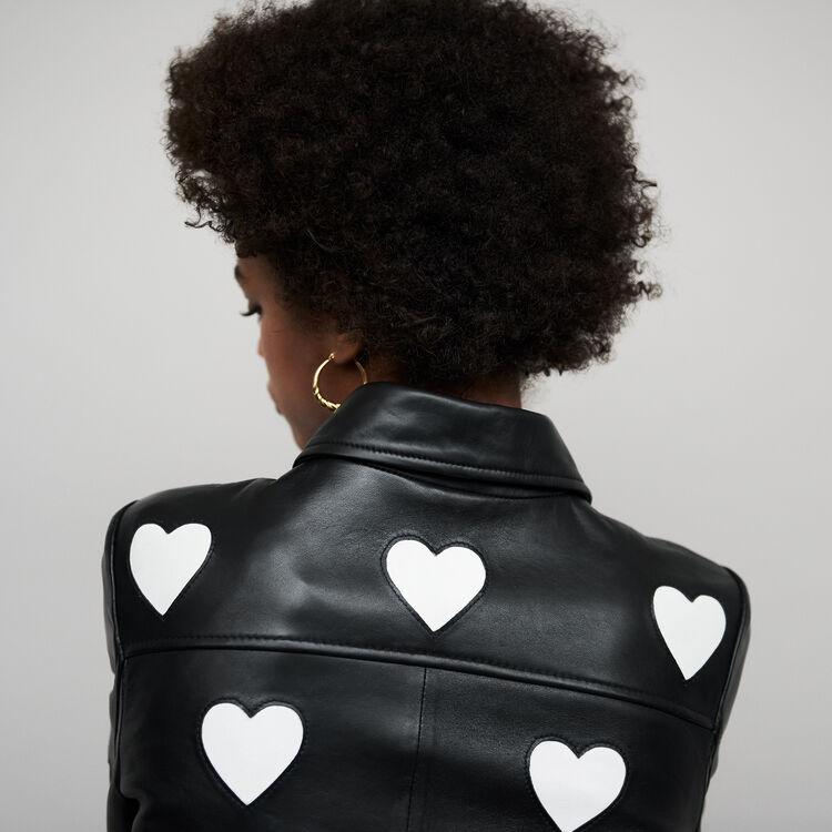 Kurze Lederjacke mit Herzen : Jacken farbe Schwarz