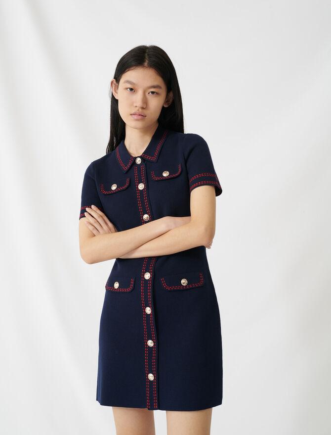 Strickkleid mit Ziernähten - Kleider - MAJE