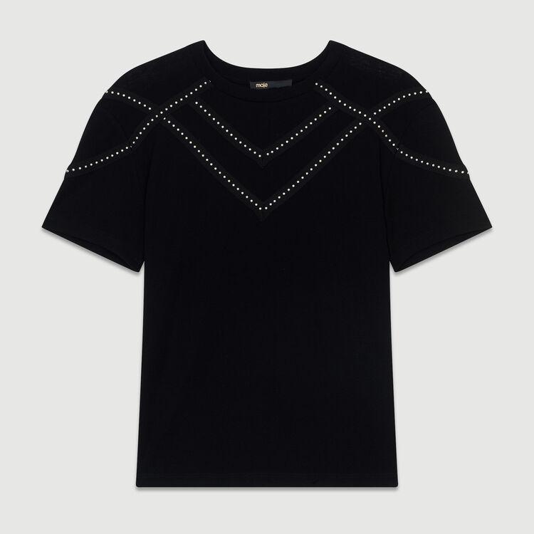 Loose-T-Shirt mit Nieten : SoldesUK-All farbe Schwarz
