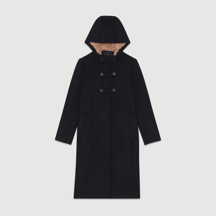 Langer Mantel  aus Kunstfell-Futter : Mäntel farbe Schwarz