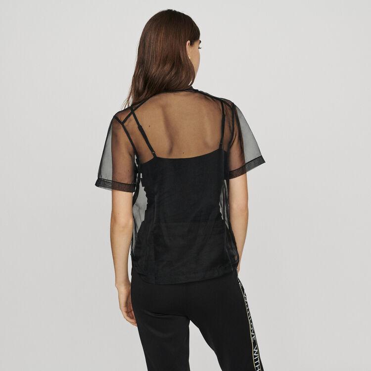 Organza-Top mit Aufschrift : T-Shirts farbe Schwarz