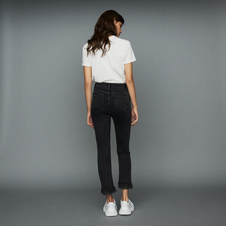 Weite Jeans mit Fransen : Jeans farbe Schwarz
