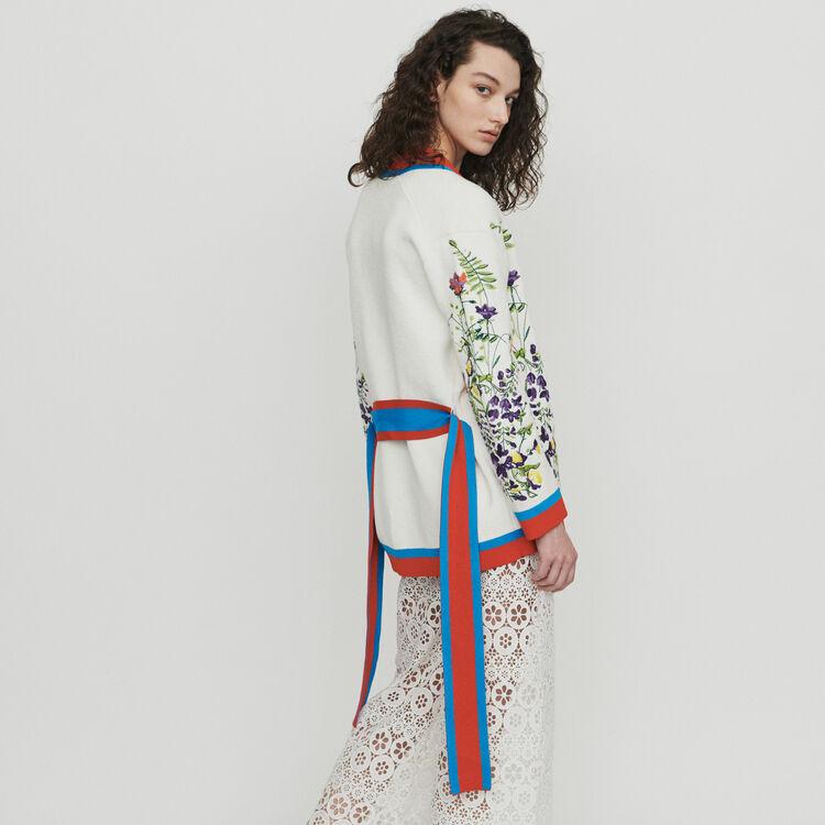 Cardigan mit Blumen Stickerei : Pullover & Strickjacken farbe Mehrfarbigen