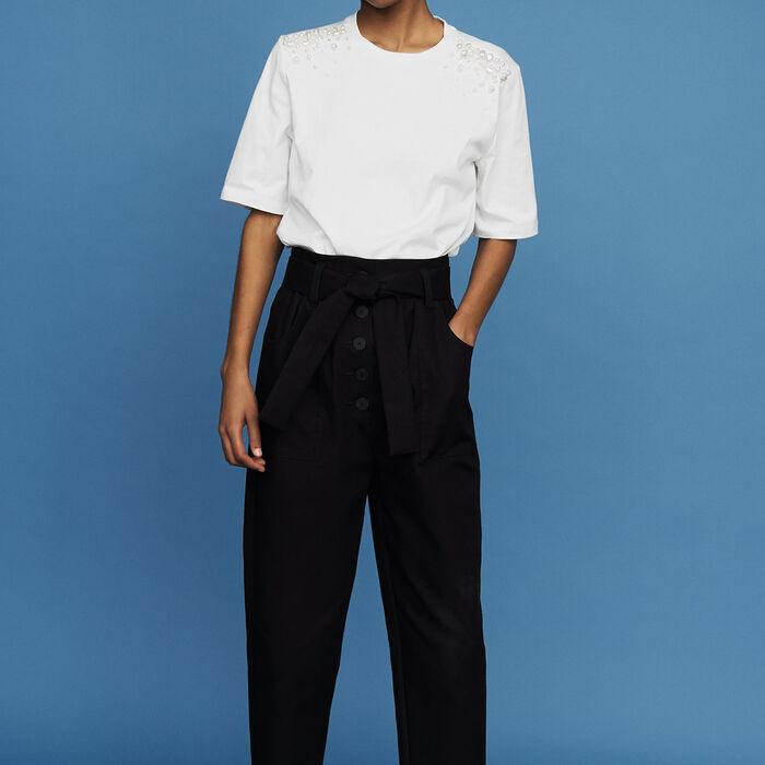 Baumwoll-T-Shirt mit Perlendetails : Neue Kollektion farbe Weiss