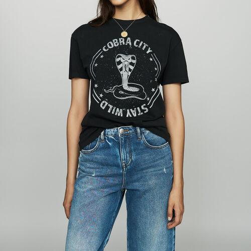 Bedrucktes Baumwoll-T-Shirt : T-Shirts farbe Schwarz