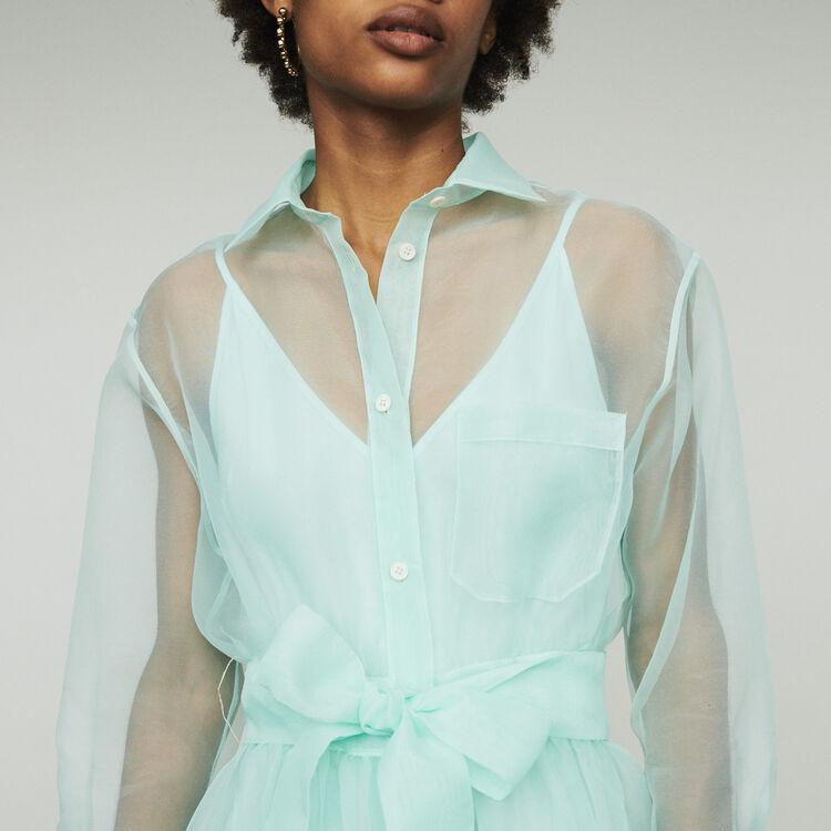 Langes Hemdkleid mit Organza-Details : Kleider farbe Wassergrün