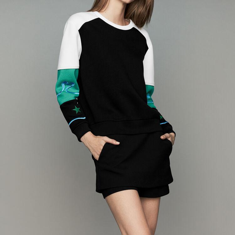 Mehrfarbiges Sweatshirt im Neopren-Stil : Sweatshirts farbe Mehrfarbigen