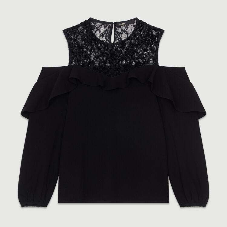 Schulterfreies Top aus Krepp : Tops farbe Schwarz