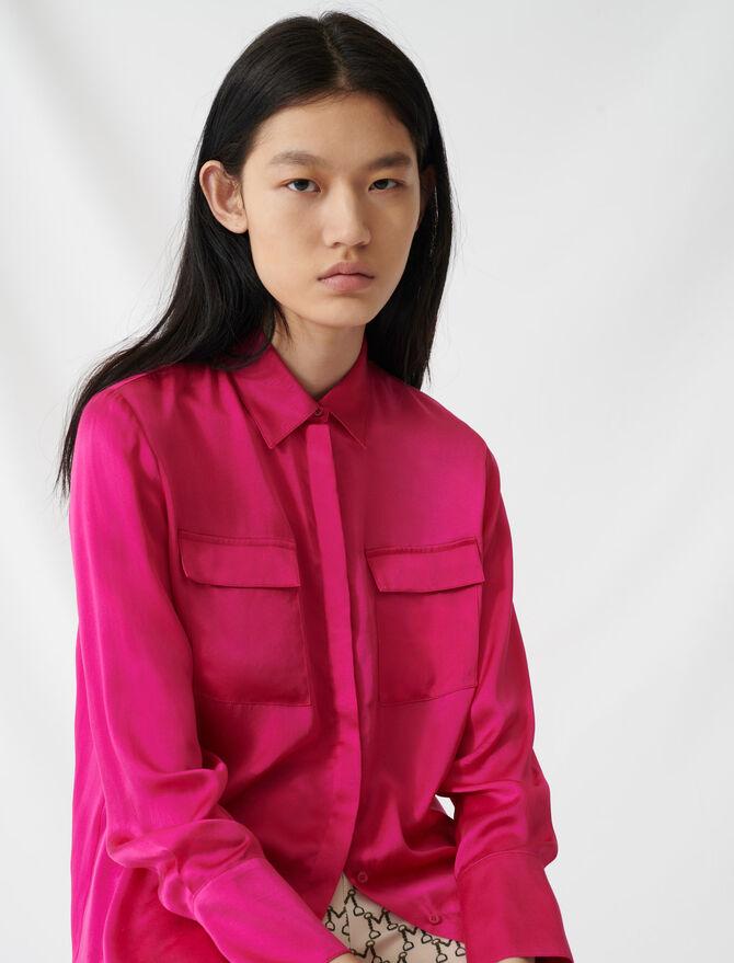 Fuchsienfarbene Bluse aus Seidensatin - Tops & Hemden - MAJE