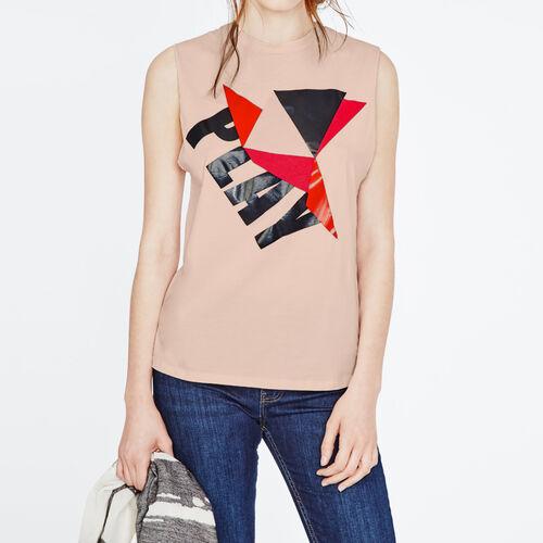 Printed Tshirt : T-shirts farbe Rosa