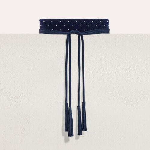 Breiter Bindegürtel mit Nieten : Gürtel farbe Marineblau
