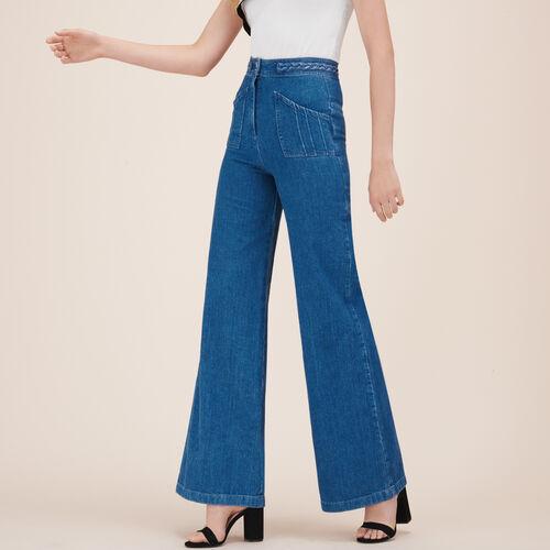 Weite Jeans mit Flechtdetail : Hosen und Jeans farbe Denim