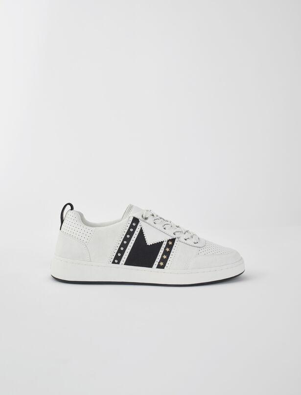마쥬 스니커즈 MAJE 120furious Zweifarbig Ledersneaker,Noir / blanc