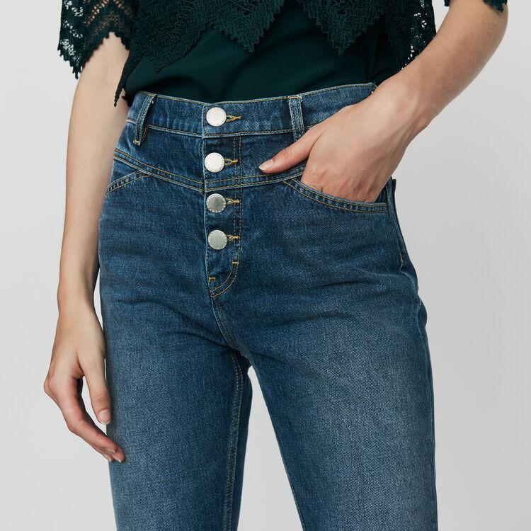 Gerade Jeans mit hohem Bund : Jeans farbe Blau