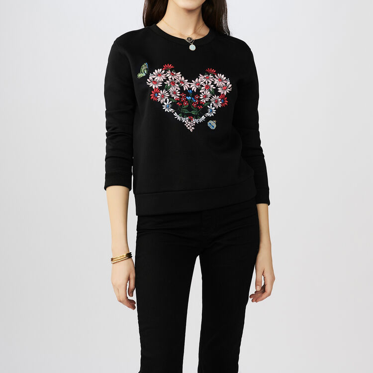 Sweatshirt with a flowered heart : T-Shirts farbe Schwarz