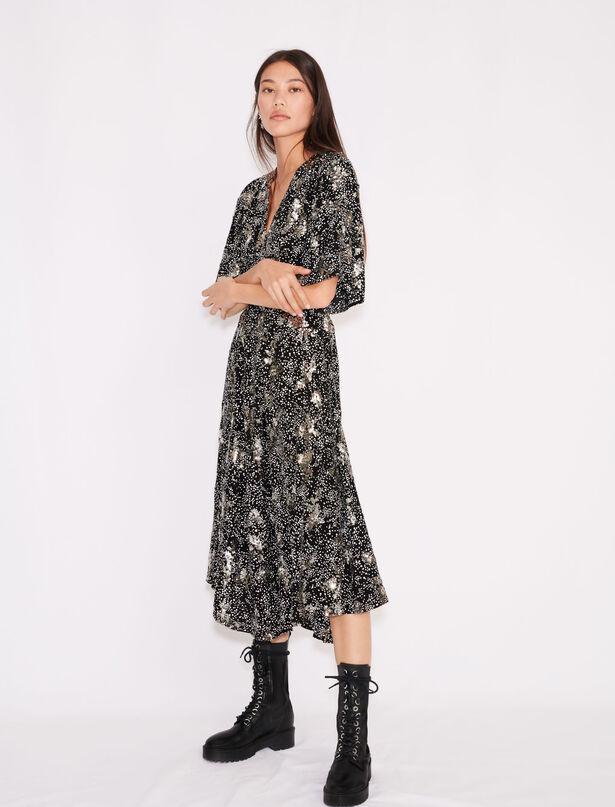 마쥬 원피스 MAJE Bedrucktes Krepp-Kleid mit Pailletten,Mini Cœur Noir et Blanc