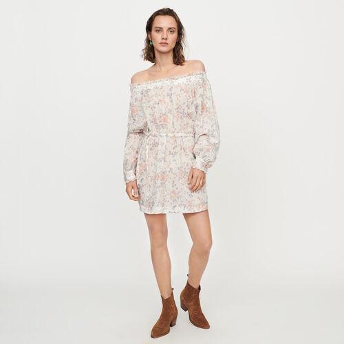 Gesmoktes Kleid aus Baumwoll-Voile : Kleider farbe Rosa