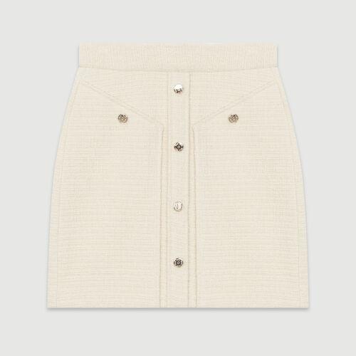 Kurzer Tweedrock : Röcke & Shorts farbe Ecru